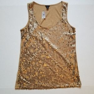 Ann Taylor bronze Sequin tank top size M nwt